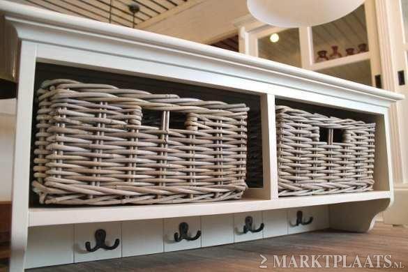 Complete Badkamer Sets ~ breed x 38 hoog x 25 cm diep jasmijnwit massief mahoniehout 2 rieten