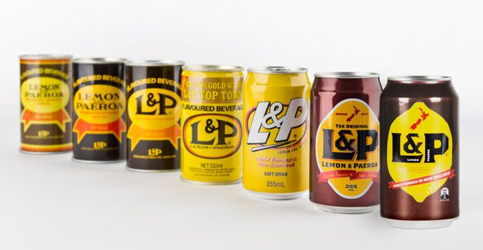 Lemon & Paeroa Before & After - The Dieline    I prefer the third from the right go the 90s