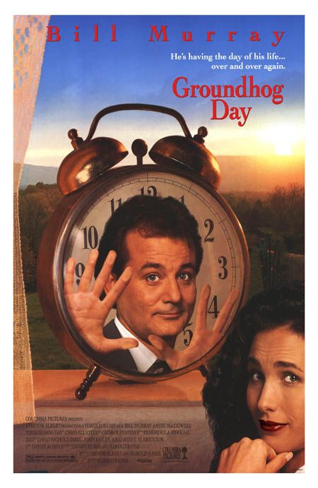 Bill Murray is stuck in a time loop, romancing Andie MacDowell over and over until he gets it right.