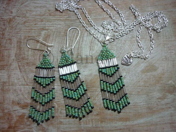 Miyuki sieraden fringe franje oorbellen en ketting set groen zwart zilver native american style door MadeByMandyNL op Etsy