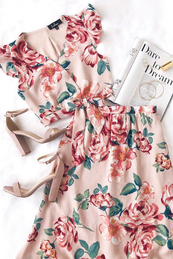 Good Fleur You Blush Pink Floral Print Two-Piece Maxi Dress