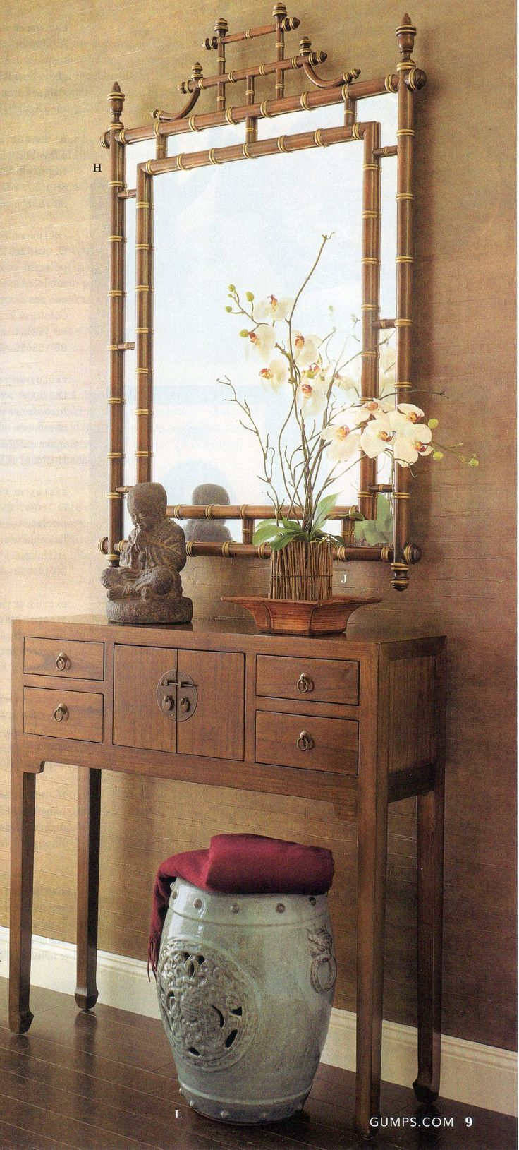 chinese asian interior chinese cabinet with bamboo mirror