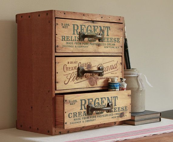Love this multi drawer desk and tool organizer made from recycled repurposed vintage antique cheese boxes. Found on Etsy:  http://www.etsy.com/listing/116440537/multi-drawer-desk-and-tool-organizer?utm_campaign=Share&utm_medium=PageTools&utm_source=Pinterest