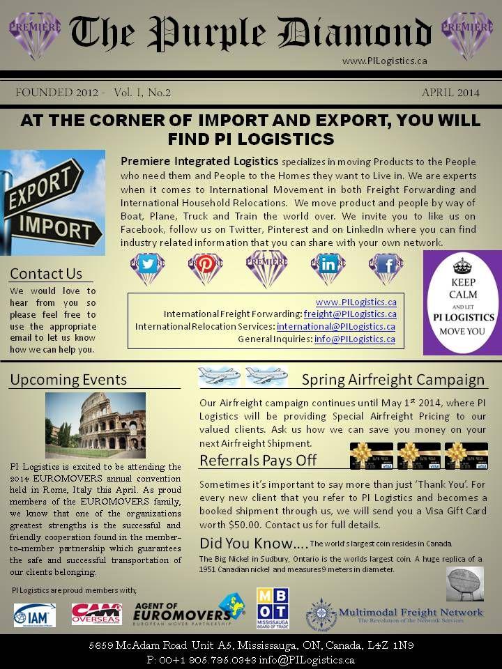 THE PURPLE DIAMOND - April 2014 Newsletter #Logistics #Moving