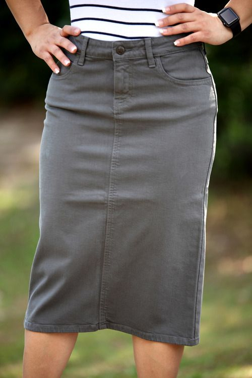 22331960f4 Colored Denim Skirt - S Gray SHIPS 5/30 - Beautiful One Modest Apparel