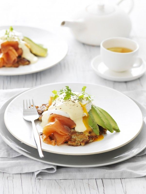Poached Egg on potato rosti with Smoked Salmon and Avocado Recipe   myfoodbook