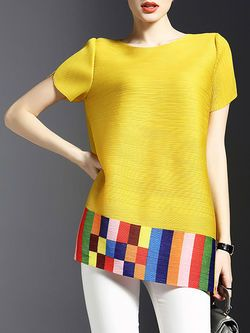Polyester Ribbed Crew Neck Short Sleeve Casual Tunic