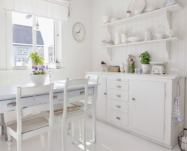 deco: Dining Rooms, Dreamy White, White Houses, Cottages Kitchens, Open Shelves, Coastal Style, Style Blog, White Kitchens, Vintage Style