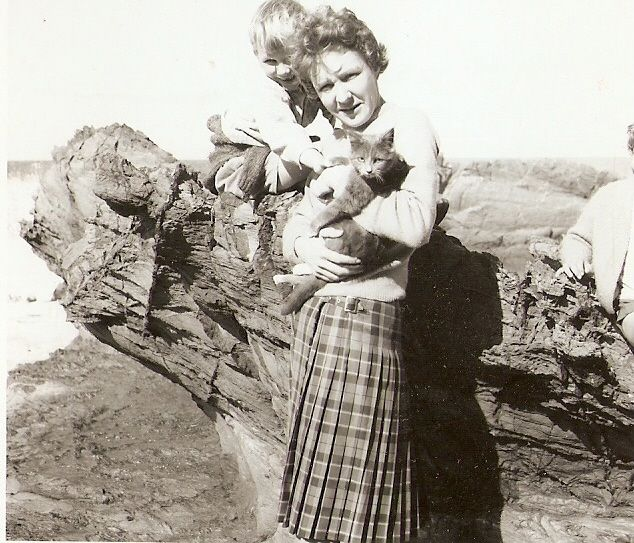 Mid 60s - me, mum and Fluff - the first Great cat.