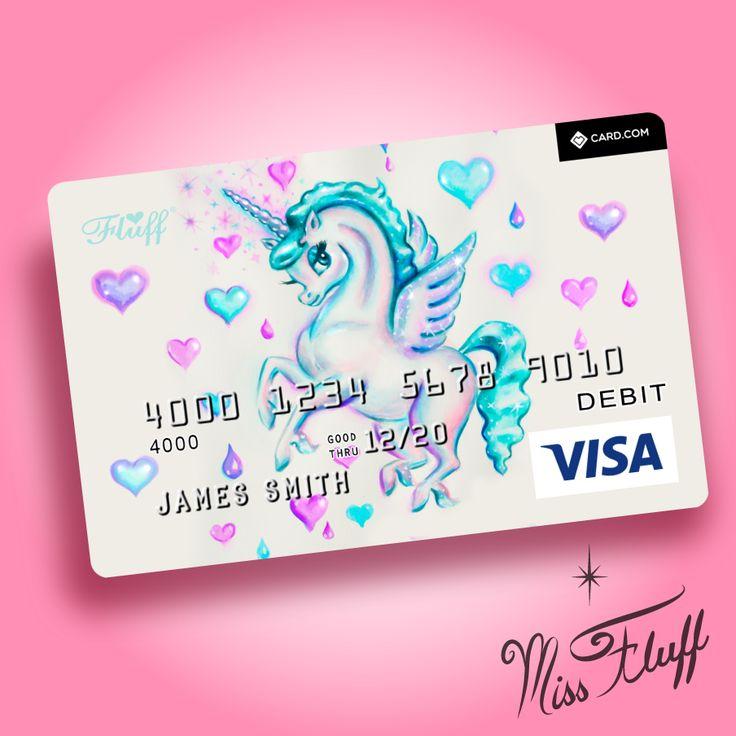 Unicorn Pegasus Super Cute Visa Debit Card Original Art By Claudette Barjoud A K A Miss Fluff