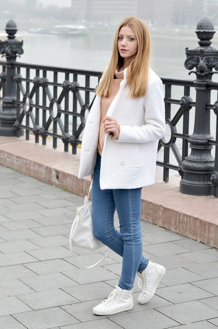 Nanushka – Festive Pop up store | Fifty Pairs Of Shoes #peach #turtleneck #white #coat #sneakers