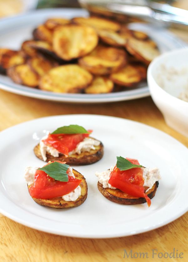 Grilled Potato Planks Topped with Tuna, Tomato and Basil | Easy ...