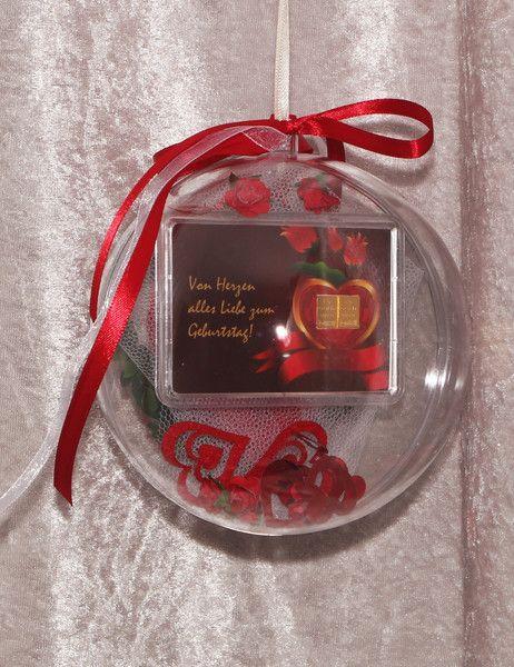2 g Goldbarren in Acrylkugel Geburtstag mit Herz - ein Designerstück von gp-metallum-de  mit roten Herzen & Röschen, incl. Zertifikat