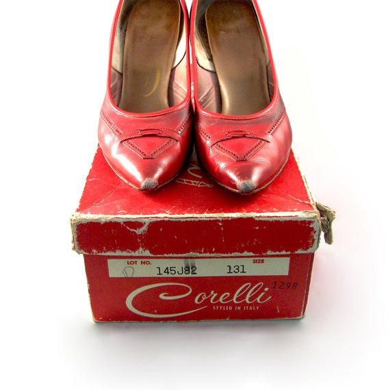 Vintage 1950's Red Leather Heels by Corelli with by CoriLuVintage, $38.00