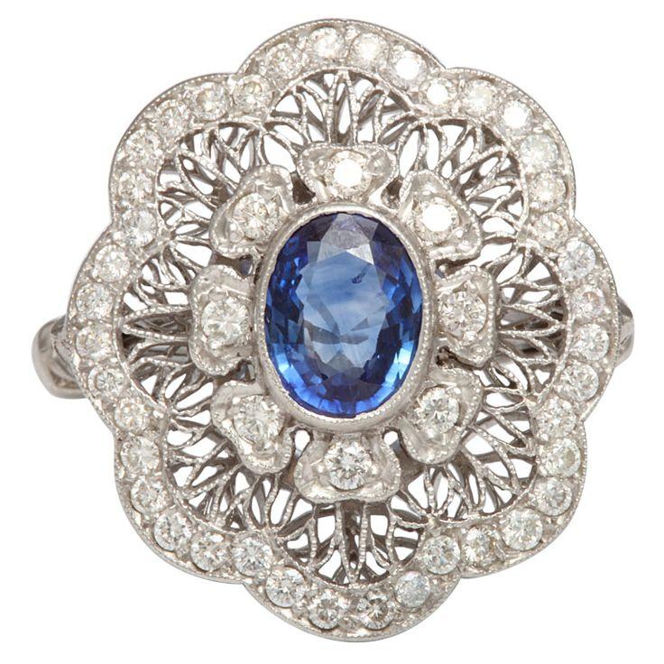 Edwardian Sapphire And Diamond Flower Ring, ca. 1910