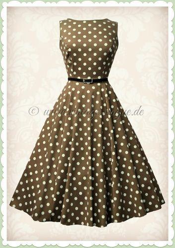 Lady Vintage 40er Jahre Vintage Punkte Kleid - Hepburn - Braun Beige