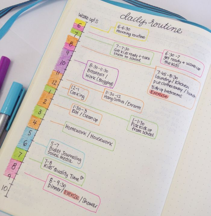 Daily Morning Routine Schedule for Bullet Journal - Focus and Time Management - Tips for managing your time and getting more things done -- christina77star.c...