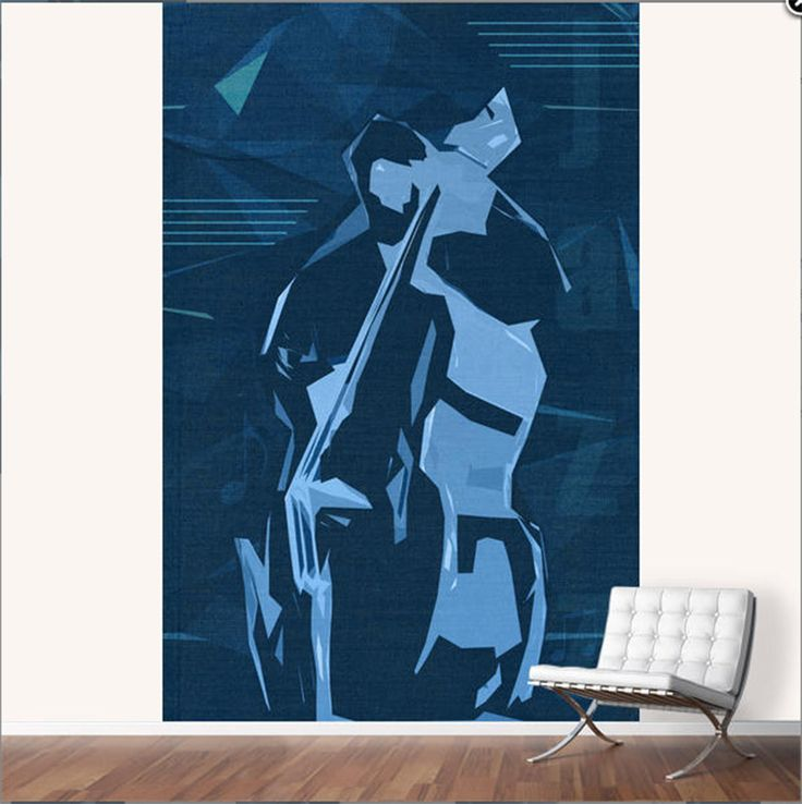 Jazz Contrabass Poster, MURAL / Peel and stick repositionable wall covering