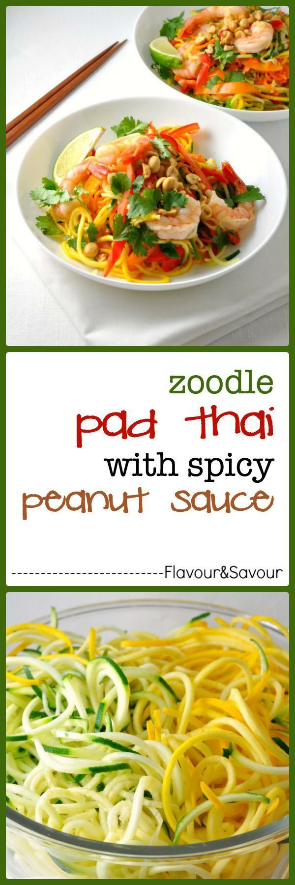 Zoodle Pad Thai with Shrimp and Peanut Sauce. It's a meal-in-a-bowl, filled with a variety of fresh seasonal vegetables on a bed of zucchini noodles, topped with shrimp and tossed in a spicy peanut sauce. It has all the flavour of traditional Pad Thai, but features fresh colourful veggies instead of rice noodles.