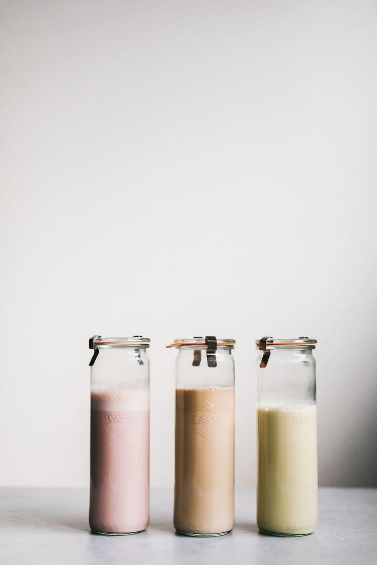 strawberry macadamia milk, coffee cashew hazelnut milk, pistachio date milk   http://faring-well.com/