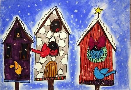 Winter bird houses- Old Town style Architecture, state bird cardinal?