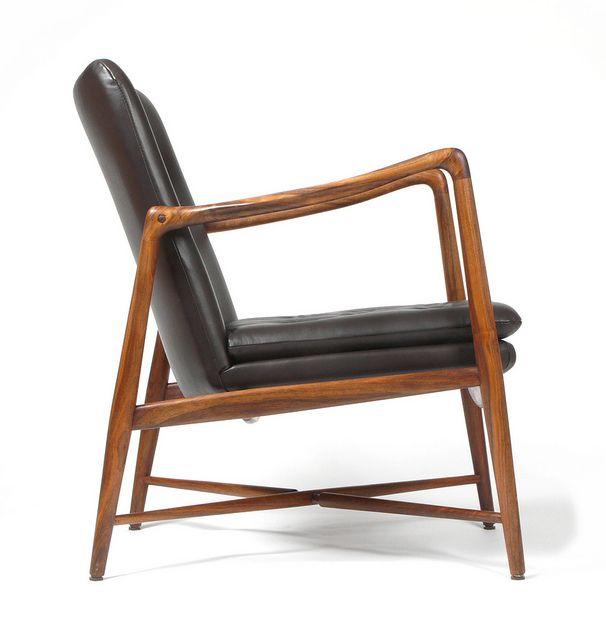 Finn Juhl; #BO-59 Walnut and Leather Armchair for Bovirke, 1946.