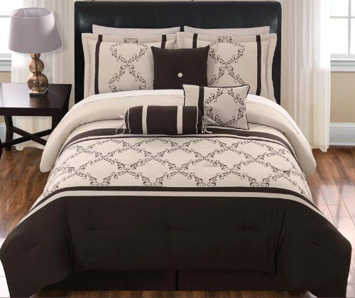 "11 Piece King Hannah Chocolate and Beige Bed in a Bag Set by KingLinen. $114.99. This beautiful ensemble features grapevine embroidery with striping accent, an eclectic set that will be great any bedroom. 3 decorative pillows included.FeaturesSize: KingColor: Chocolate/Beige100% PolyesterMachine washableThis set includes:1  Comforter (101""x86"")2  Shams (20""x36"")1  Bedskirt(78""x80""+14"")3  Decorative Cushions Plus 300 Thread Count Cotton Sheets:2 King pillowcases (20"" x 40..."
