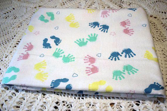 Single Layer Receiving Blanket Baby Feet Baby Hand Prints