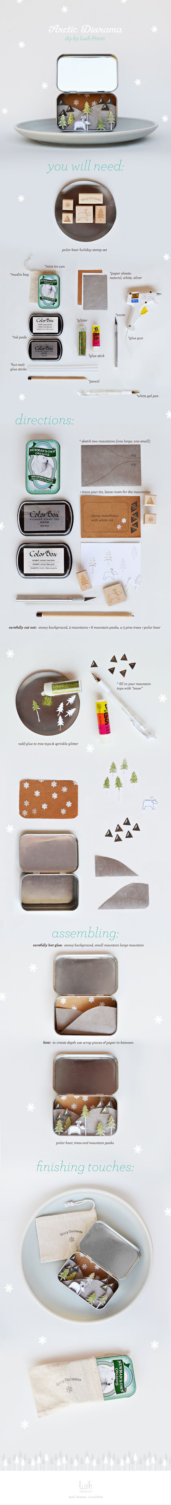 Arctic Diorama DIY Tutorial using Polar Bear Holiday Stamp Set from Lush Prints