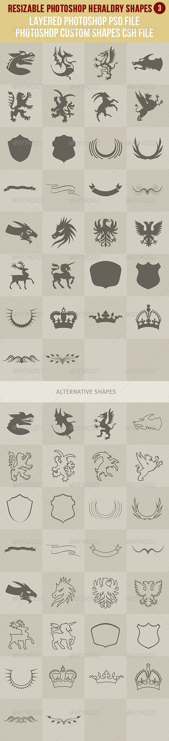 Photoshop Heraldry Shapes 3 - http://graphicriver.net/item/photoshop-heraldry-shapes-3/2856792?ref=cruzine