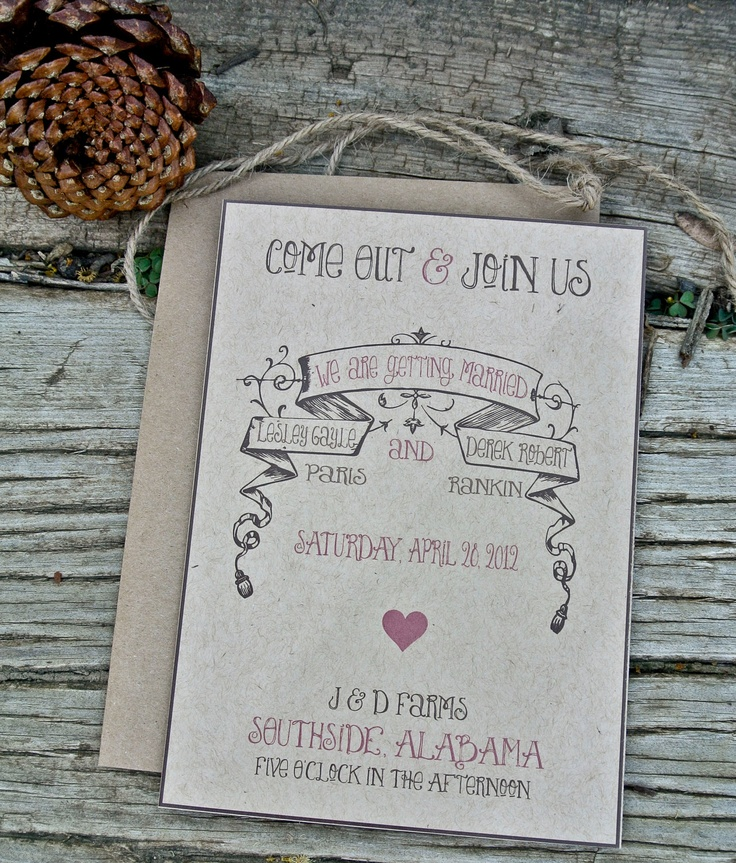 Wedding Invitation : Rustic and Vintage. $2.00, via Etsy.