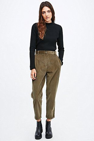 Urban Renewal Vintage Remnants Cord Trousers in Khaki - Urban Outfitters