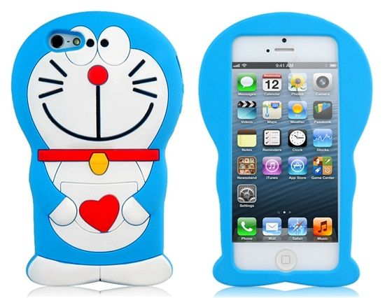 3D Doraemon Shaped Silicone Case voor de iPhone 5 (Blauw)