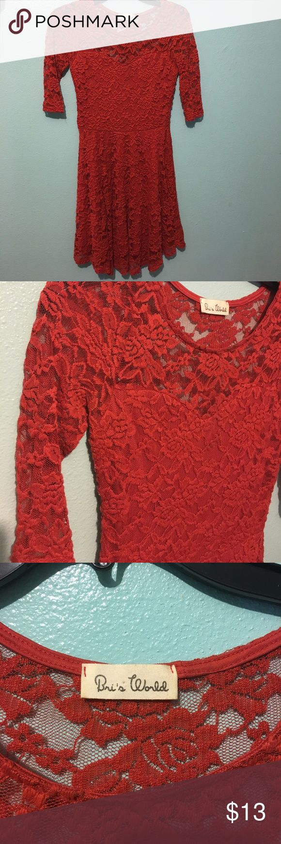 Dark Orange Lace Dress Worn Once, in perfect condition Bri's World Dresses
