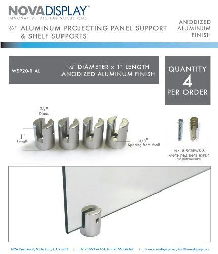 """3/4"""" Dia x 1"""" L Aluminum Panel Support - For panels up to 4-6.5mm (5/32""""-1/4"""") thick. Spacing from wall - 10mm (3/8""""). by Nova Display Inc.. $26.40. Projecting Supports - Identification and wayfinding are presented creatively using ceiling and wall fixings. Extensive range of sign and panel mounting systems, allowing you to create perfectly mounted projecting signage that will communicate your message or service clearly. Signs of any width or height can be combined to create th..."""