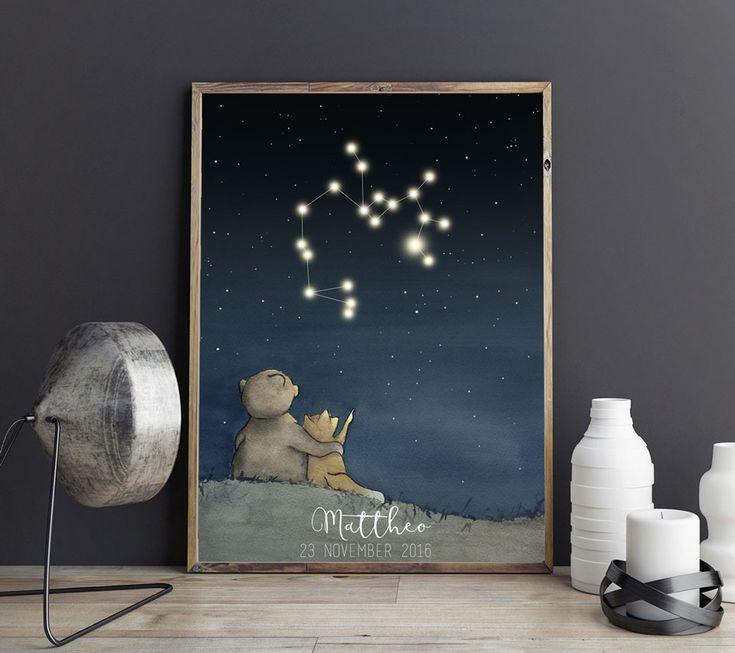 Personlig barntavla med stjärntecken och namn samt födelseuppgifter.