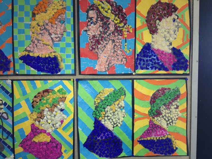My Ancient Rome Art Project with a Year 6/7 Class. Colour in a face portrait of a Roman Emperor. Use crepe paper in balls to create 3D-effect on face. Create a Roman mosaic in the background using 2-3 colours of craft paper. The display turns out beautifully with so many colours... lightens up the whole classroom!