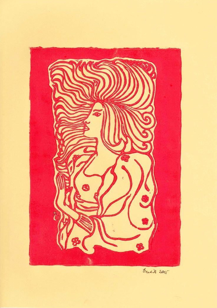 Gesichter: Jugendstil  [Linoldruck (Schwarzlinien - Schnitt) auf Tonzeichenpapier ca 20x28 cm]]