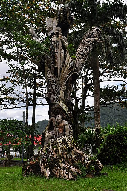 Samoan tree carving, Fagatogo, American Samoa - AS Arts Council  consists of different legends of the Samoan history!