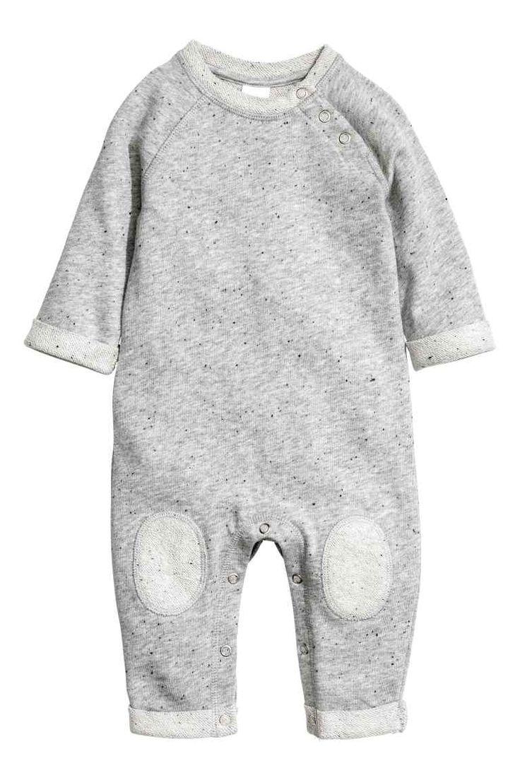 Sweatshirt romper suit: BABY EXCLUSIVE/CONSCIOUS. Romper suit in marled, organic…