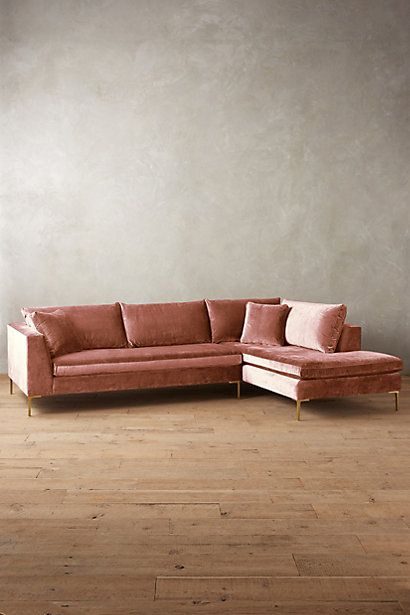 Perfect Pale Pink Slubbed Velvet Sofa-Chaise Edlyn Right Sectional #anthropologie