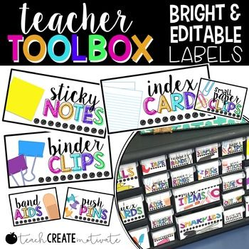 Teacher Toolbox Labels {BRIGHT & Editable} There are many labels included in this pack as well as a powerpoint file to be able to add your own! There is also a printing tips page. Please make sure to read this!