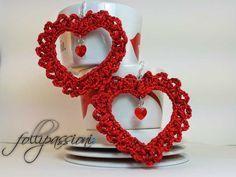 San Valentino, Valentine's day, orecchini uncinetto, earrings crochet, uncinetto schemi gratis, crochet pattern free