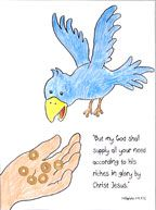 Children color the picture of Elijah and the Raven and then glue food (dry cereal) to the hand and the raven's beak. Just make sure you bring enough cereal for both the picture and your children!