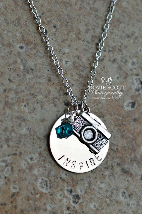 Camera Charm Necklace - Personalize it with your own wording and your bead color.