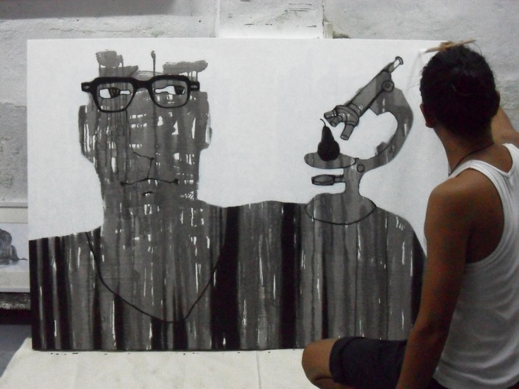 The artist,Mr.Zen is working.