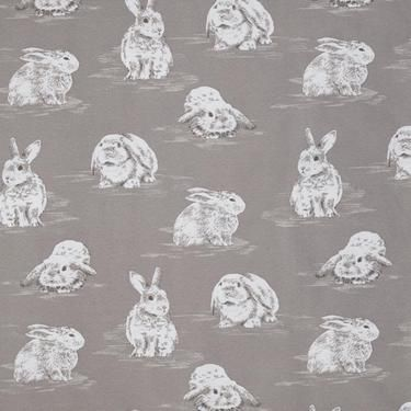 Rabbit Printed Woven Fabric Taupe 150 cm