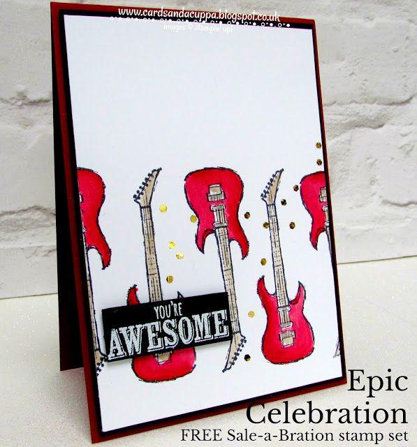 Sarah-Jane Rae cardsandacuppa: Stampin' Up! UK Order Online 24/7: Red Guitar Epic Celebration Card - A FREE SaB Stamp Set