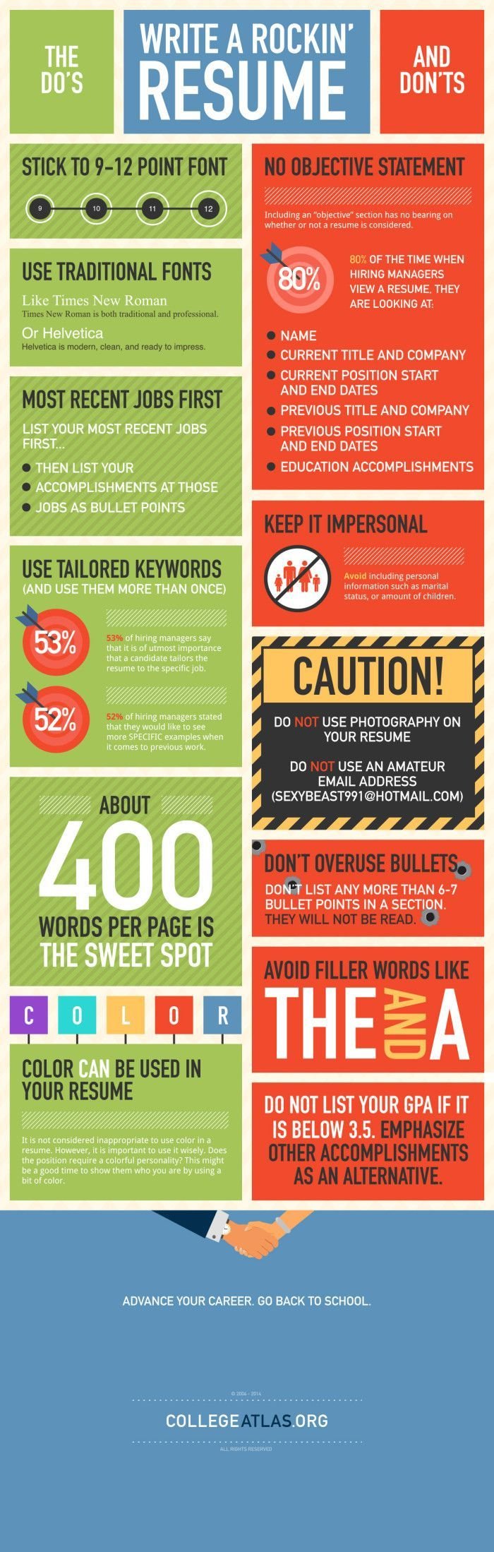 """This awesome infographic give a couple great tips on how keep your resume """"rockin""""."""