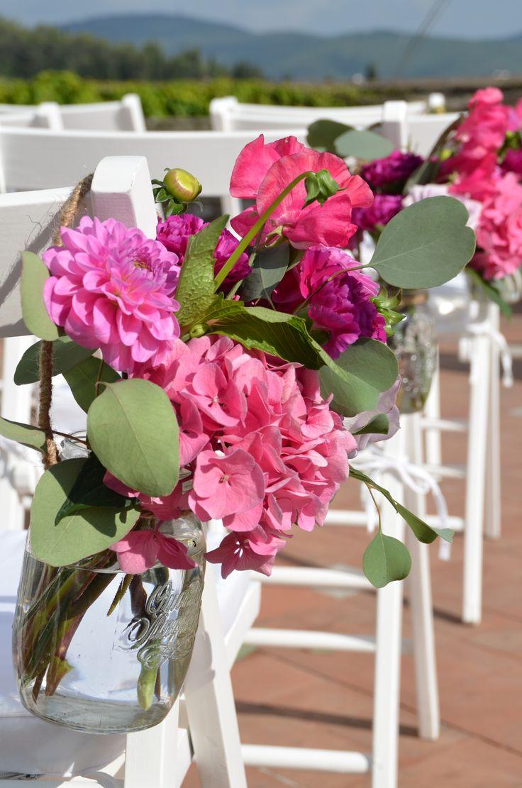 #FLORALIADECOR #CASTELLOdiVINCIGLIATA #DecorationForChair #PinkHydrangeas #Dahlia